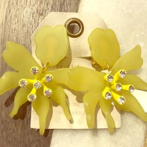 Lele Sadoughi Canary Yellow Daffodil Earrings